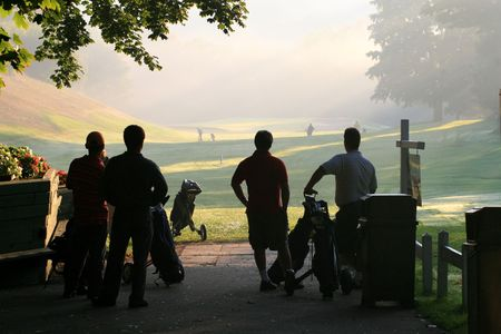 play golf: Walking, summer and playing golf! Stock Photo