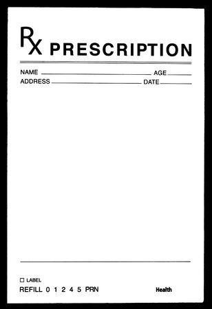 recetas medicas: En blanco Formulario de Medicamentos Recetados Foto de archivo
