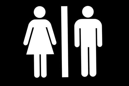woman in bath: Public toilet or washroom sign Stock Photo