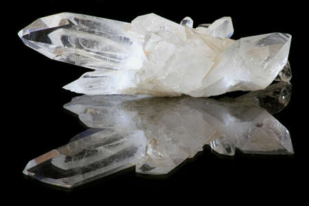 White, pure, natural quartz crystals.