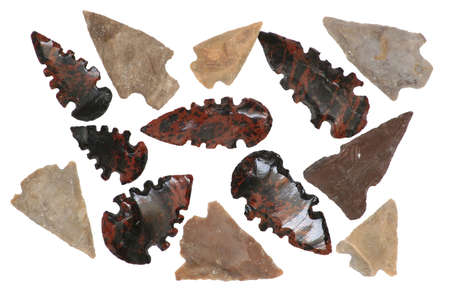 flint: Pre-European Native American Arrowheads made of Obsidian and Chert.