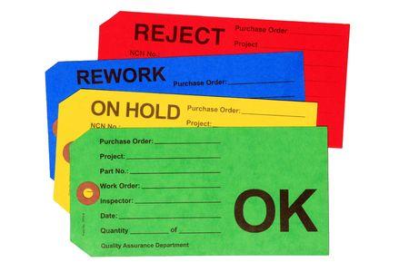 control de calidad: Etiquetas de fabricación utilizados por el departamento de control de calidad.