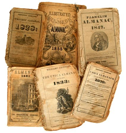 Collection of very old, original farmers almanacs.