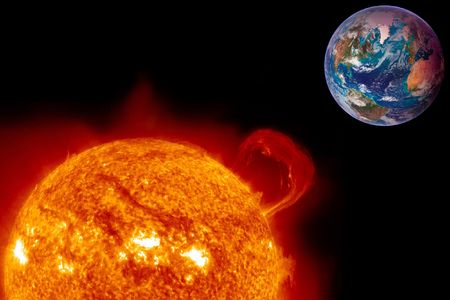 prominence: The Sun overheats a future Earth in this illustration.
