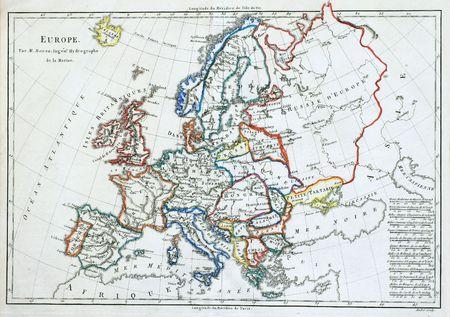 オリジナル ライン着色されたヨーロッパの地図、1785 年にフランスで印刷します。