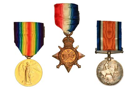 british army: World War One Medals. Victory Medal, the British and Canadian War medal and the 1914-15 Star Medal. Stock Photo