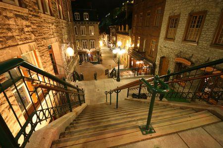 ユネスコの古いケベックのブレーク首の階段 写真素材