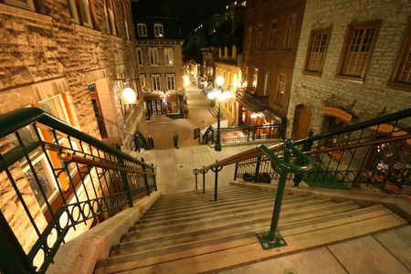 and streetlights: Break-Neck Stairs in UNESCOs Old Quebec City