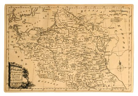 Vintage map of Poland, printed in 1773, shows the countrys partitions.