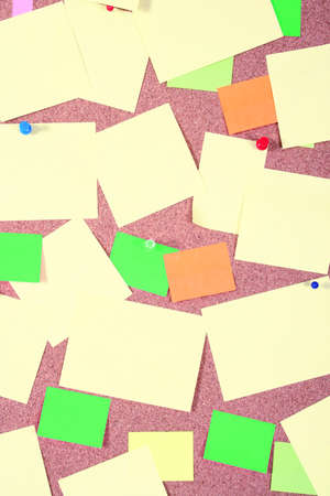 board with blank papers, cards , pins and post-it Stock Photo - 1455161