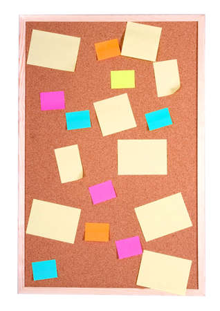 board with blank papers, cards , pins and post-it Stock Photo - 1455180