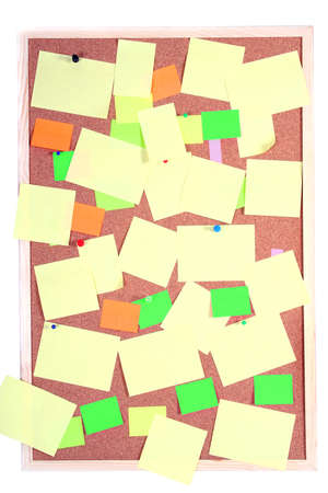 board with blank papers, cards , pins and post-it Stock Photo - 1455170