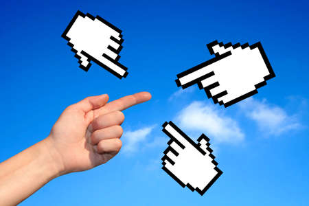 clic: Hands on blue sky background Stock Photo