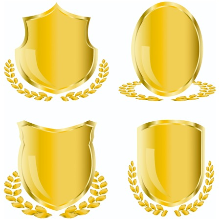golden shield with laurel wreath   Vector