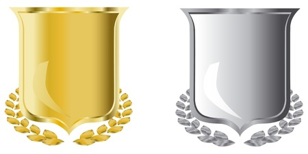 golden and silver shields with laurel wreath Stock Vector - 3842360