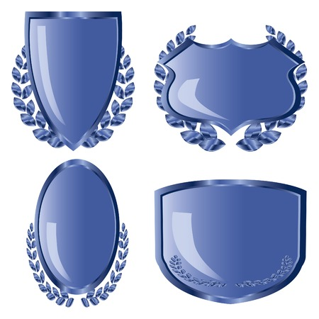 Blue shields with laurel wreath Vector