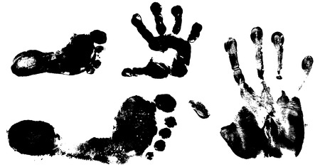 Childrens and mans hand and foot prints on white background Vector