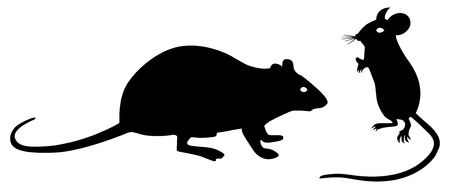Black mouse and rat silhouettes on white background. Vector illustration.