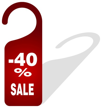 procent: red price tag -40% sale on white background