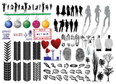vector tyre: Silhouette of girls and collection of Vector Fingerprints, Footprints and more Illustration