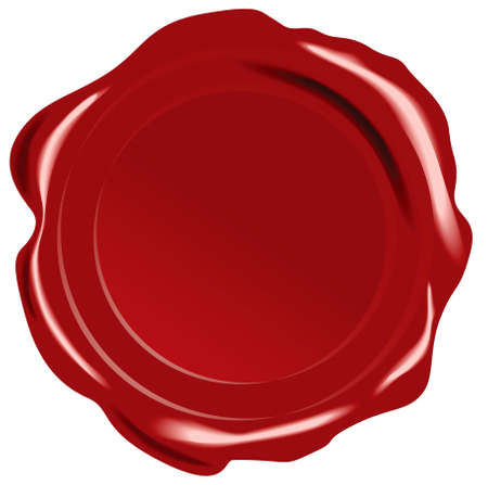 Red vector wax seal on white background Vector