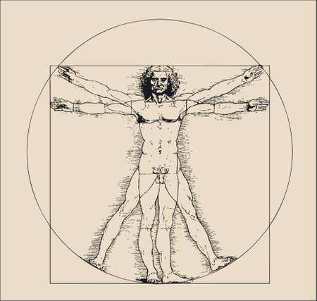 vitruvian: A highly stylized drawing of vitruvian man with crosshatching and sepia tones