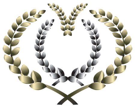 silver medal: laurel wreath. This image is a vector illustration and can be scaled to any size without loss of resolution. Illustration