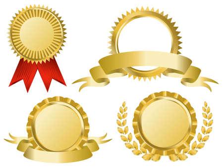 gold award ribbons Vector