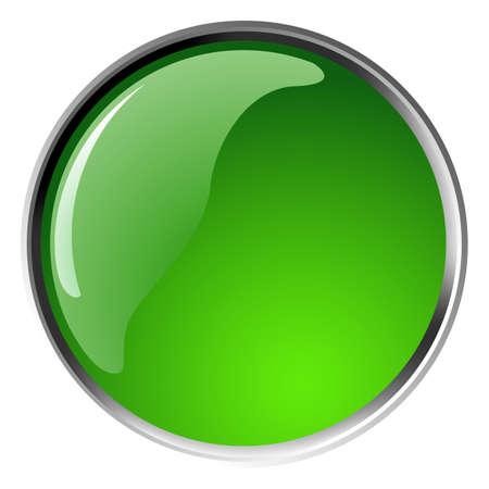 glossy green button, balls. Vector illustration. Vector
