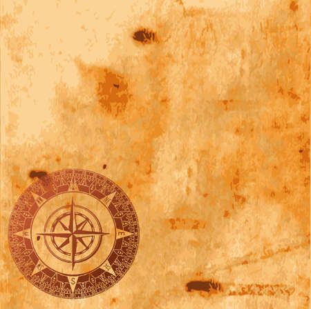 Background image with interesting old paper texture and compass Vector