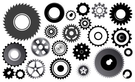 set of gear wheels - this image is a vector illustration