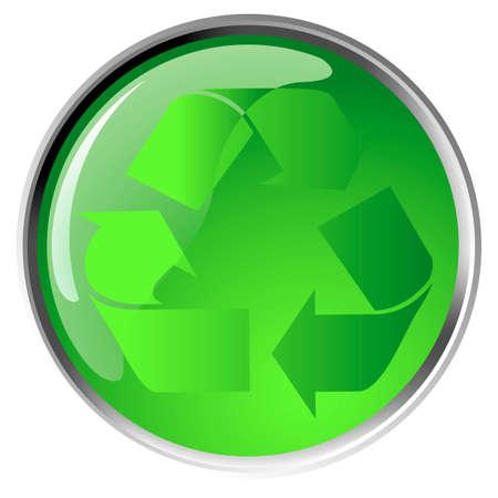 Recycling symbol icon on green button, vector Vector