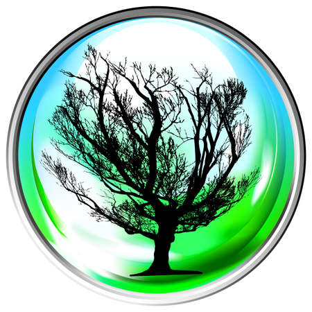Vector globe with a single tree within Vector