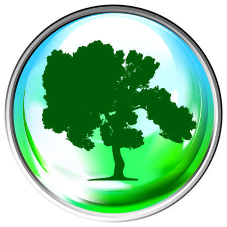 Vector globe with a single tree within Stock Vector - 4797835