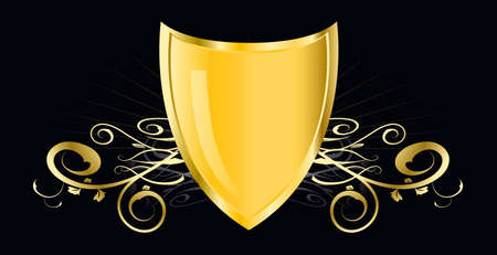 golden shield - This image is a vector illustration and can be scaled to any size without loss of resolution Ilustrace