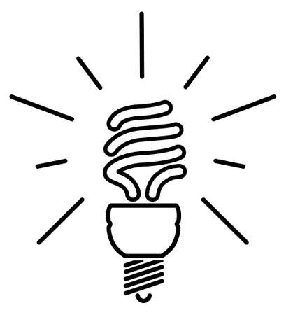 vector lamp: Energy saving fluorescent light bulb - editable vector