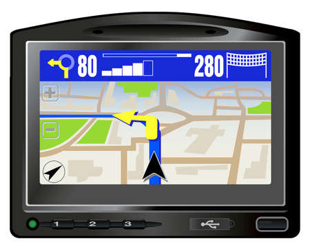car navigation: Modern GPS. This image is a vector illustration