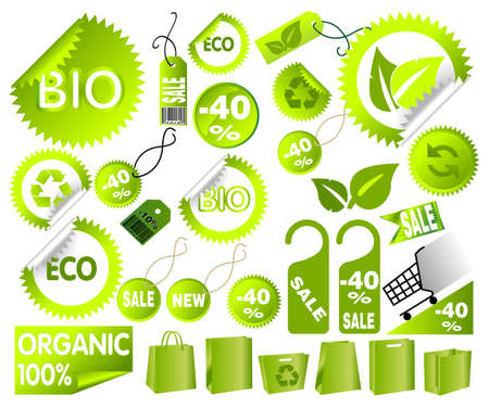 Big Set of green environmental icons, vector art Vector