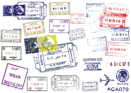 Passport Stamps. This image is a vector illustration