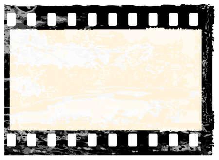 Aged vector illustration of a grunge filmstrip frame. Vector