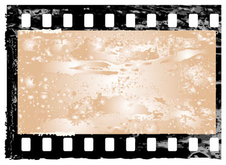negativity: Aged vector illustration of a grunge filmstrip frame. Illustration