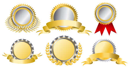 Gold and silver award ribbons. This image is a vector illustration Vector