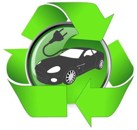 electric plug: Concept Car Electric - presa elettrica con un cavo a forma di auto-.