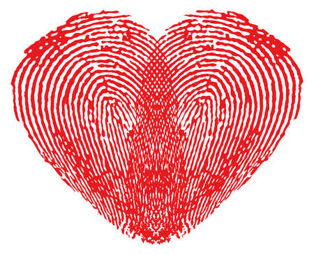 Romantic heart made of fingerprints over white background Vector