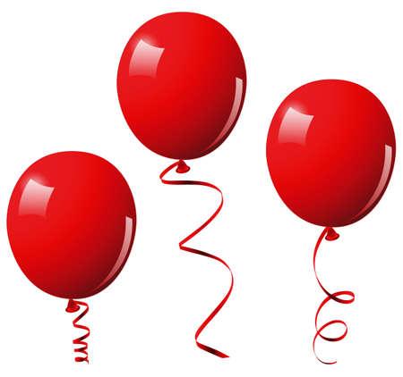 globos de cumplea�os: Globos rojos. Esta imagen es una ilustraci�n vectorial