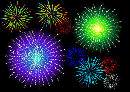 Abstract vector illustration of fireworks in the sky Illustration