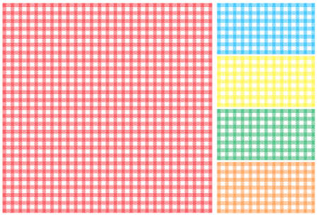 Easy tilable red, green, blue, yellow and orange picnic tablecloth Vector