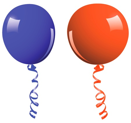 insulate: Blue and orange balloon - vector