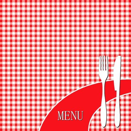 picnic cloth: Red picnic cloth - menu card design  Illustration