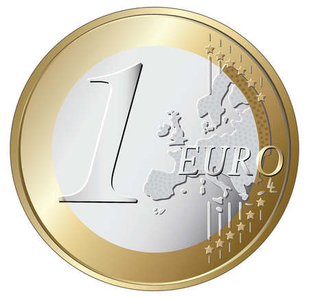 silver coins: one euro coin vector illustration isolated on white background